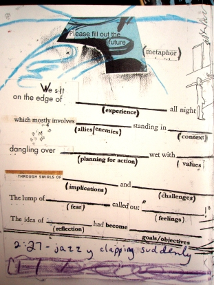 """please fill out the future metaphor"" collage, pen, pencil on paper. detail from ""open confusion"" zine, 2008."