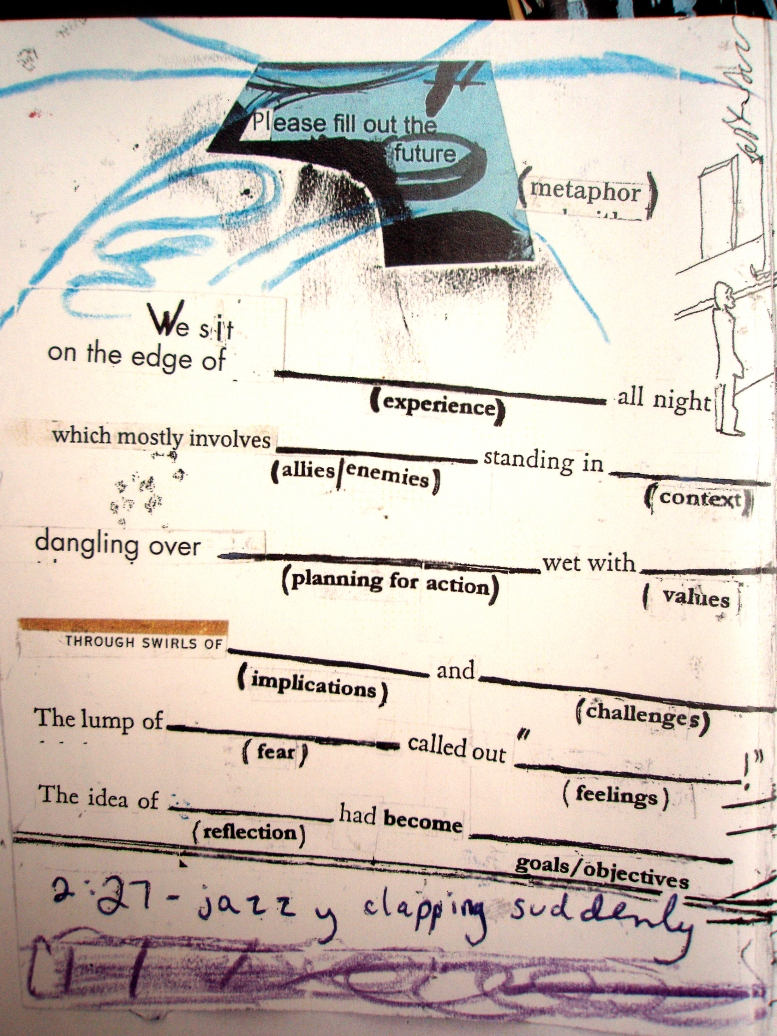 "page from ""open confusion"" zine, word collage, 2008. Jessica Gabriel"
