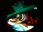 """salmon puppet portrait, mixed media on overhead projector from show """"ursa's imaginings"""" 2010. www.mindofasnail.org"""