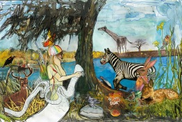 """animal gala"" mixed media on paper, illustration for book ""i called it hippopotamus"", 2007. Jessica Gabriel"
