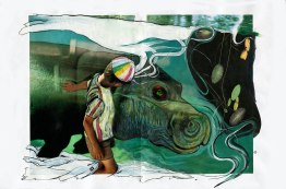 """hippo cover"" mixed media on paper, 2007. Jessica Gabriel"