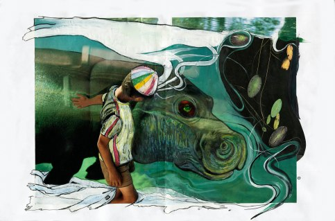 """""""hippo cover"""" mixed media on paper, 2007. Jessica Gabriel"""