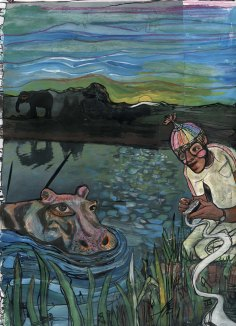 """""""talking to hippo"""" mixed media page from """"I called it Hippopotamus"""" illustration series, 2007, Jessica Gabriel."""