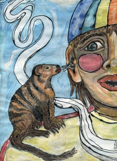 """""""mongoose spoke"""" mixed media page from """"I called it Hippopotamus"""" illustration series, 2007, Jessica Gabriel."""