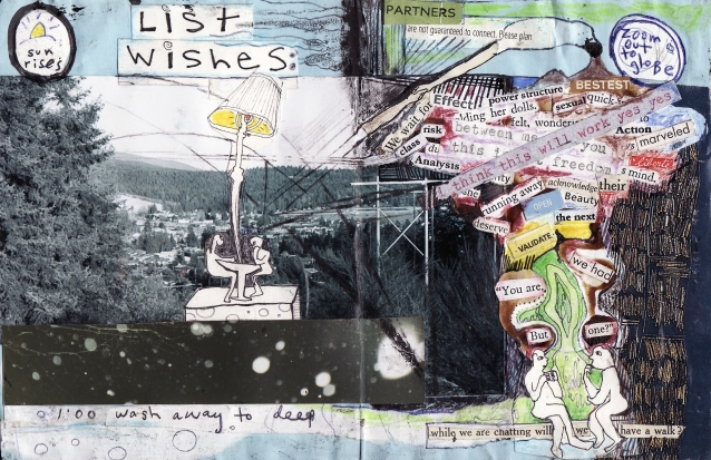 """list wishes"" collage, pen, pencil on paper. detail from ""open confusion"" zine, 2008.Jessica Gabriel."
