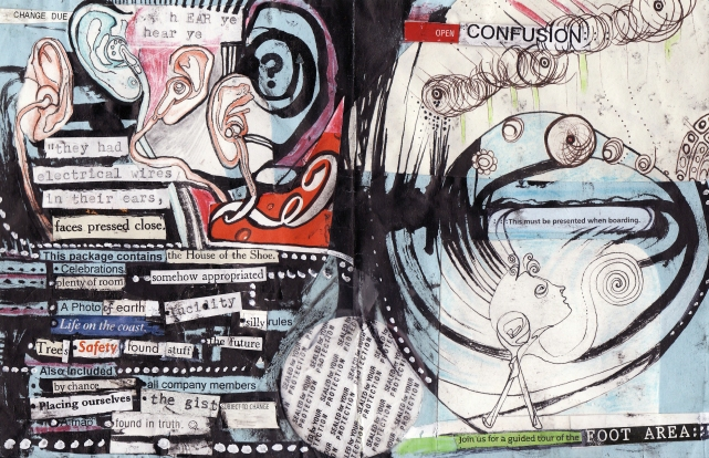 """hear ye hear ye"" collage, pen, pencil on paper. cover page from ""open confusion"" zine, 2008."