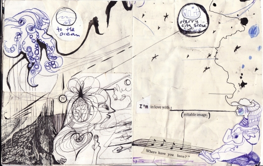 """to the ocean"" collage, pen, pencil on paper. detail from ""open confusion"" zine, 2008.Jessica Gabriel."