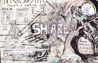 """share"" collage, pen, pencil on paper. detail from ""open confusion"" zine, 2008.Jessica Gabriel."