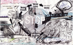 """stop"" collage, pen, pencil on paper. detail from ""open confusion"" zine, 2008.Jessica Gabriel."