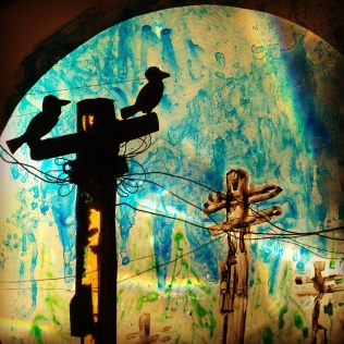 """still from show """"caws & effect"""", 2014. watercolour and mixed media on overhead projector. www.mindofasnail.org"""